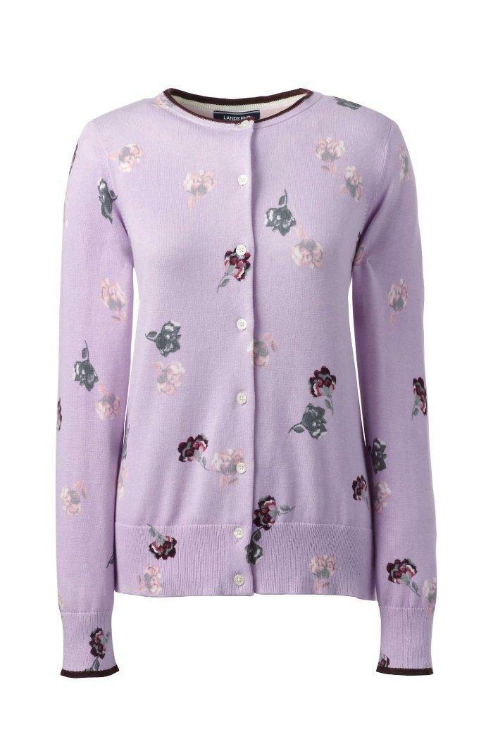 LANDS' END S-Tall(6-8) Lavender Floral Supima Cotton Cardigan Sweater NWT