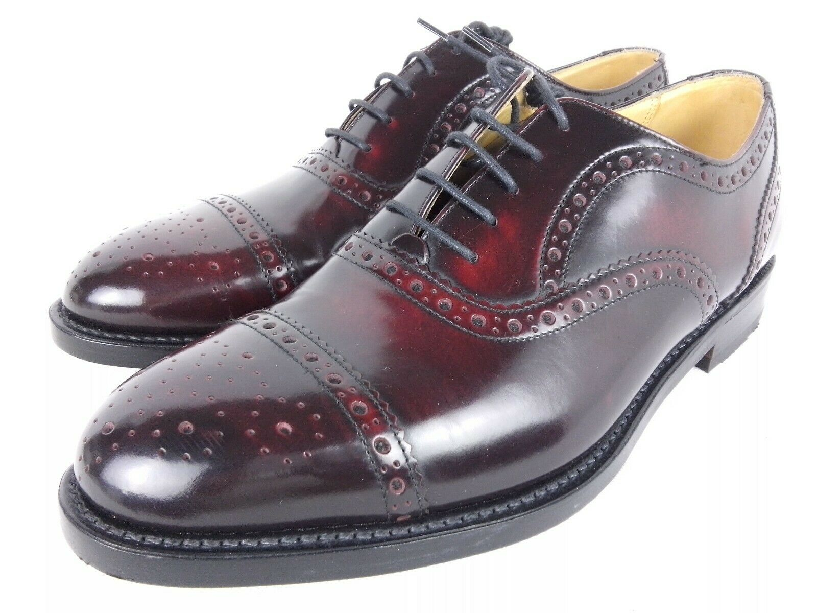 Zapatos de Cuero Burdeos Pulido K Semi Brogue Oxford Uk 9.5 como Loake welted