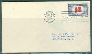 US-FDC-920 OVER RUN COUNTRIES DENMARK cancel.WASHINGTON DC.DEC.7-1943 ADDR