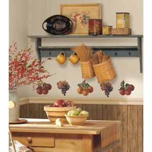 Fruit Harvest Wall Stickers 26 Colorful Decals Apples Grapes