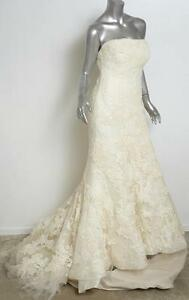 VERA WANG LUXE Ivory HILARY Lace Strapless Mermaid Wedding Gown ...