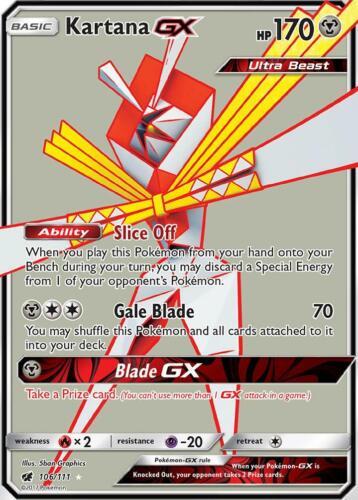 Kartana GX 106//111 Sun /& Moon Crimson invasion-Fullart en Presque comme neuf Pokemon