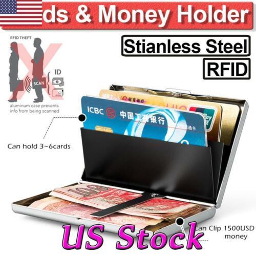 Hard Metal Wallet Stainless Steel Slim RFID Blocking Credit Card Protector Case