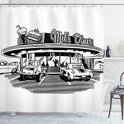Illustration Of Retro Diner With Vintage Cars 50 S Themed Shower Curtain Set Ebay