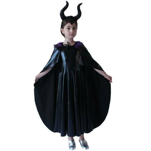 Details about  /Halloween Cosplay Kids The Maleficent Witch Dress Headwear Costume Outfit
