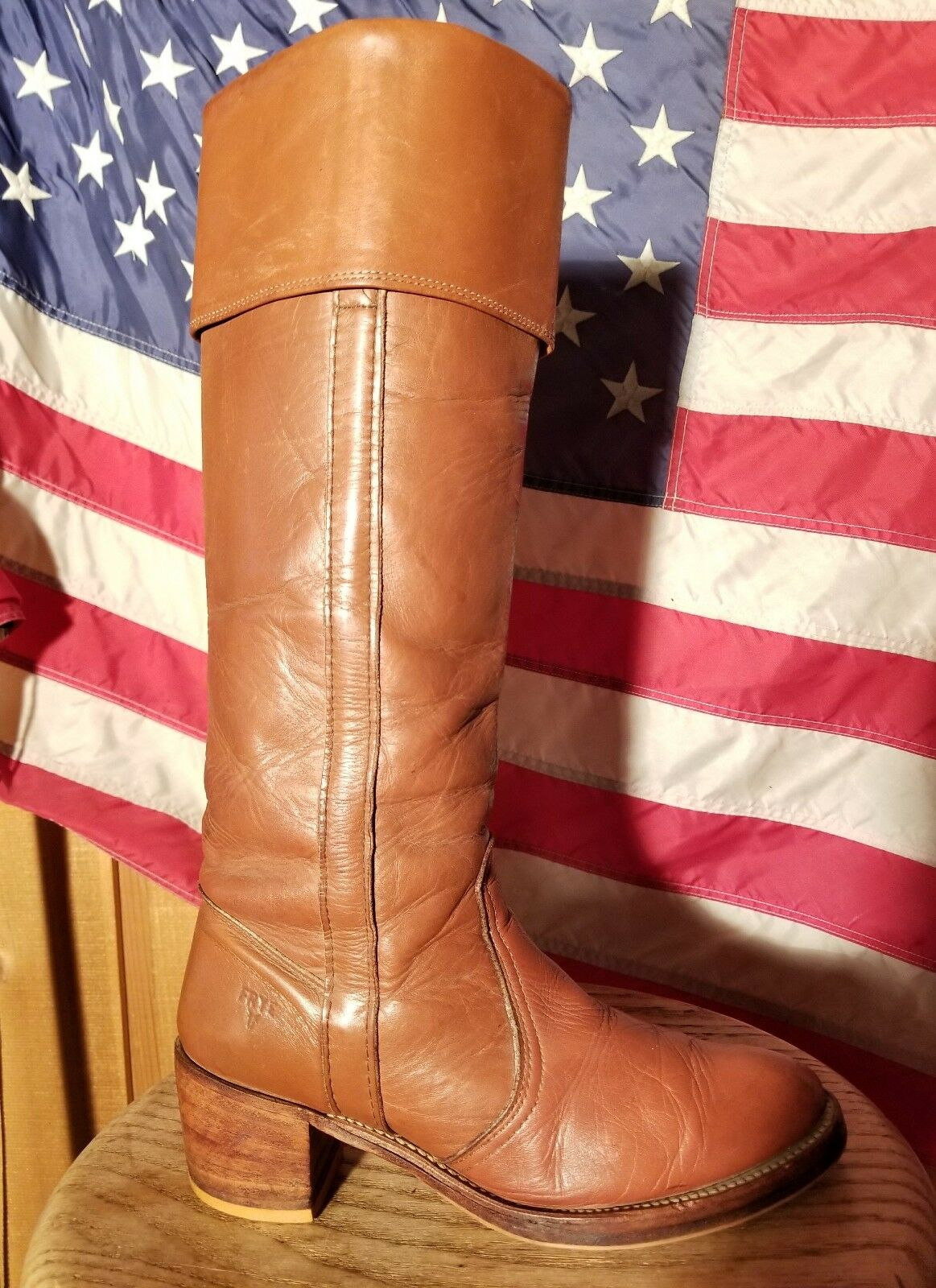 GORGEOUS TALL VINTAGE FRYE CAMPUS CUFF BOOT SIZE 7.5 TIME WORN CARAMEL LEATHER