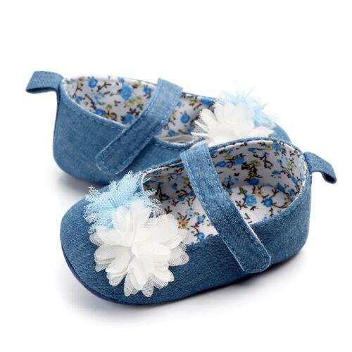 Toddler Infant Bébé Mignon Filles Toile Fleur Unique Premier Walker Semelle Souple Chaussures