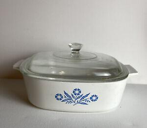 Corning Ware Blue Cornflower 2 Qt Quart Casserole Dish A-2-B W/ A-9-C Pyrex Lid