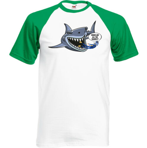 Scuba Diving T-Shirt Where Are All The Sharks Mens Funny Kit Equipment Diver
