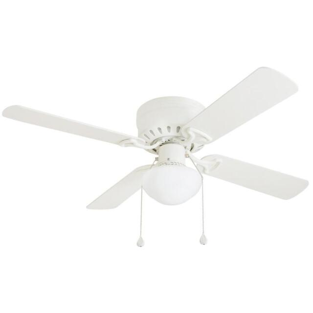 Harbor Breeze Armitage 42 In White Flush Mount Ceiling Fan With Light Kit 40016