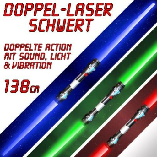 2x Spada Laser Doppia con SUONO Vibrazione 138 cm Rosso Verde Blu