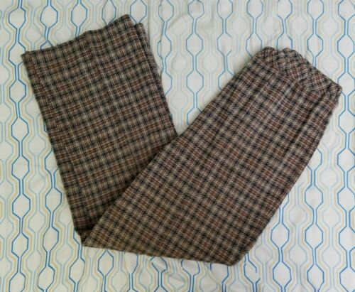 VTG 70s 80s Women's Houndstooth Plaid Pants Brown… - image 1