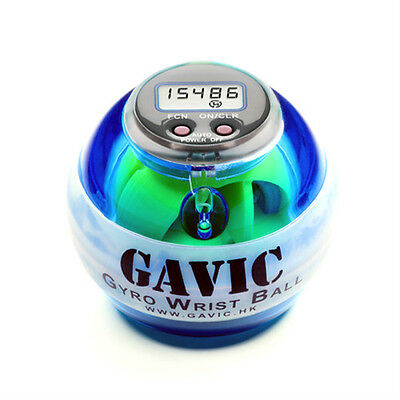GAVIC LED Power Exercise Gyro Wrist Ball in Blue + Speed Meter + Strap + Case