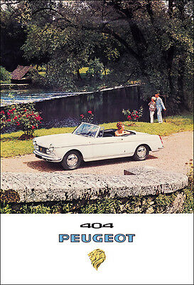 Peugeot 404 Convertible Classic Car Picture Poster Print A1