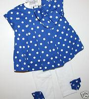Macy's First Impressions Girl's 3 6 Mo. Set Blue Dot Top W/ White Leggings