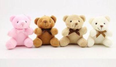"""11/"""" Plush scarf brown teddy bear grid heart Stuffed Animal Soft Doll Toys Gift"""