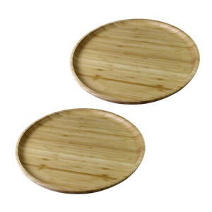 Wilmax-Natural-Bamboo-Round-Serving-Platter-Tray-14-034-Set-of-2