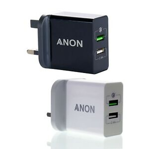 24 W 5 V rapide 4.8AMP Double Double 2 Port Chargeur USB UK Mural Secteur Prise Adaptateur 3 Broches