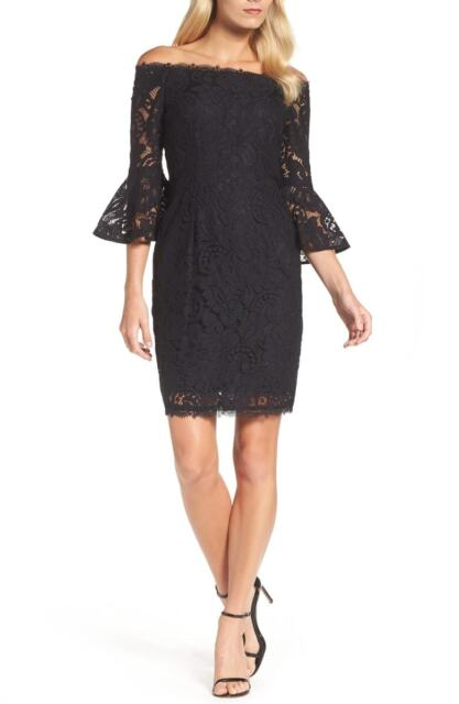7f6e8cf4 Adrianna Papell Lace off The Shoulder Bell Sleeve Sheath Dress Black ...