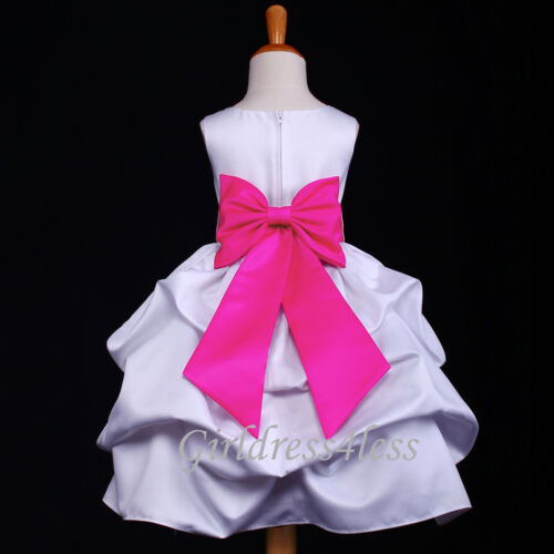 US Seller White Baby Infant Wedding Pageant Party Flower Girl Pick Up Dress Gown