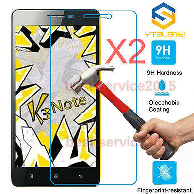 Ytaland 2Pcs 9H+ Tempered Glass Film Screen Protector For Lenovo K3 NOTE / A7000