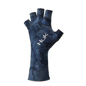 HUK Mens UV Protection Fishhing Fingerless Current Camo Sun Gloves