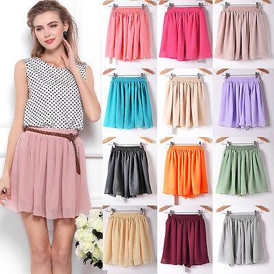 2 Layer Women Girl Chiffon Pleated Flared Elastic Waist Short Mini Dress Skirt