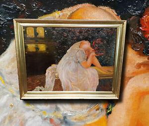 Liebeskummer-Jugendstilgemaelde-Original-aelteres-Olgemaelde-aussergewoehnlich