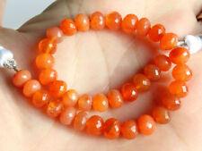 "6mm. Natural Orange Carnelian Faceted Rondelle Gemstone Beads 6.5"""