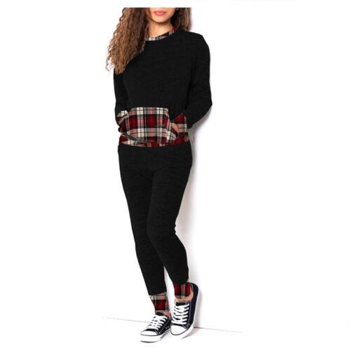 New Womens Ladies Wine Tartan Print Loungewear Set Joggers Tracksuit Pants 8-26.