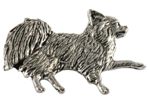 Pewter Long Haired Chihuahua Lapel Pin or Refrigerator Magnet D350F Made in USA