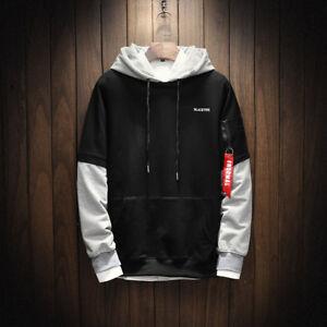 Men 2018 Cool Long Hop Hip Sleeve Patchwork Sweatshirt Hoodies Pullover q55Uw7