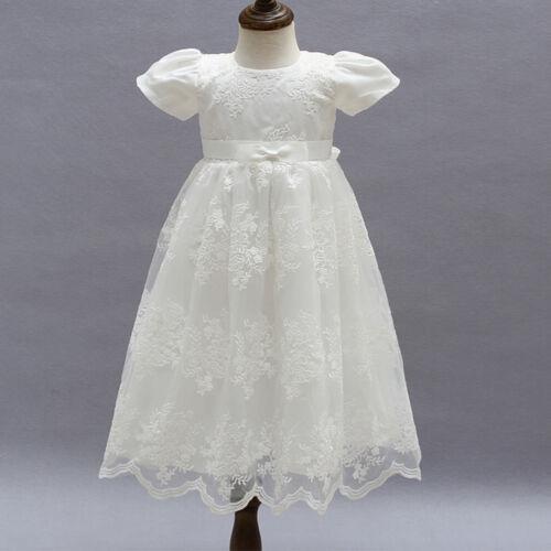 Baby Kid Flower Girl Long Christening Baptism Dress Princess Party Wedding Gown