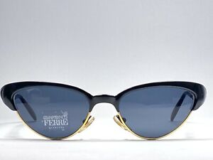 VINTAGE-GIANFRANCO-FERRE-GFF-367S-CAT-EYE-BLACK-GOLD-MADE-IN-ITALY-SUNGLASSES