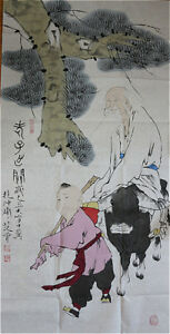 RARE-LARGE-Chinese-100-Handed-Painting-By-Fan-Zeng-DH5