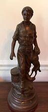 Vintage Statue FERMIER Boy and Dog After Mathurin MOREAU Sculptor?