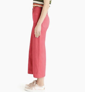 J-Crew-Point-Sur-Wide-Leg-Crop-Pants-Size-26-High-Rise-Vintage-Rose-Red-NWT