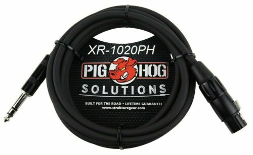 """PigHog PX-TMXF20  20ft 1//4/"""" TRS Male to XLR 3-Pin Female Shielded Balanced Cable"""