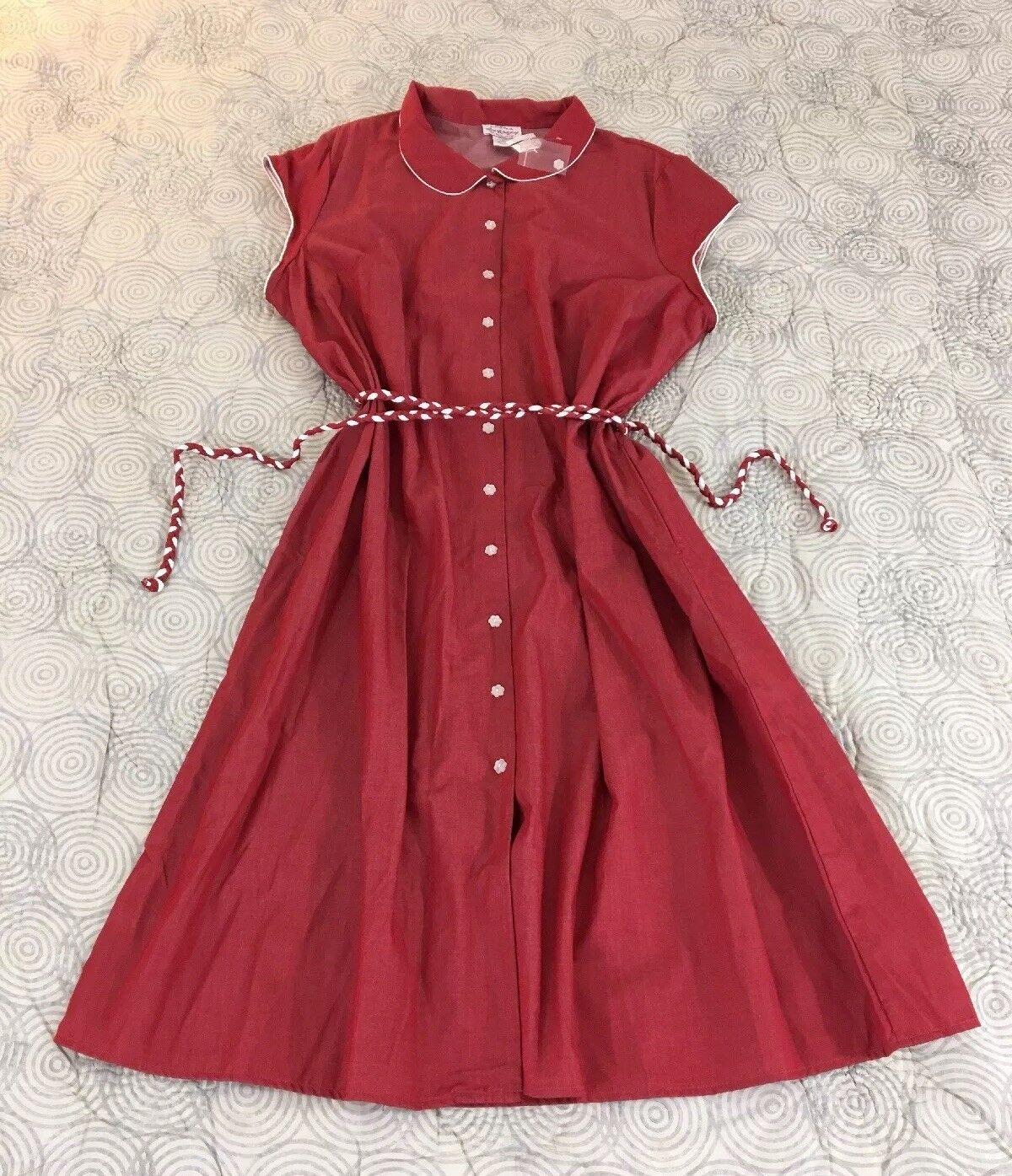 Nuevo Estilo Vintage  Rojo Lanz of Salzburg con cinturón vestido SZ 2X  Todo en alta calidad y bajo precio.