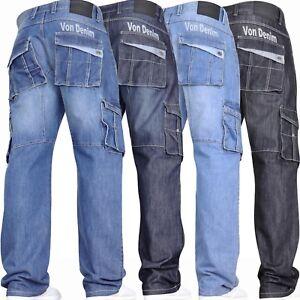 New-Mens-VON-DENIM-Casual-Cargo-Combat-Work-Pants-Jeans-Trousers-Waist-Sizes