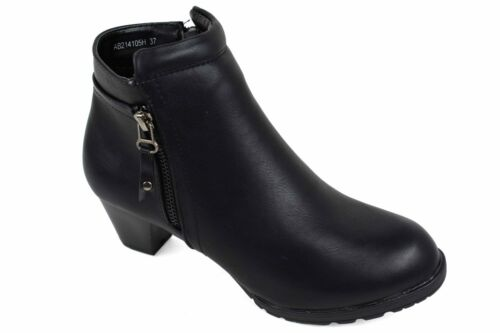 Ladies New Black Side Zipper Block Heel Pull On Casual//Formal Boots UK Size 2-8