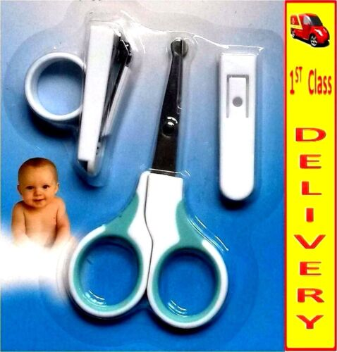NAIL CLIPPER-SAFETY SLEEVE KIDS MANICURE SET WITH SCISSORS 3PCS BABY