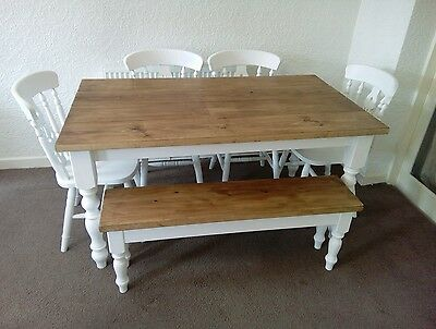 5ft Handmade Shabby Chic Table 4 Chairs And 4ft Bench Ebay