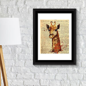 Details About Wall Frame Art Giraffe Newspaper Animal Poster Office Decor Home Decoration