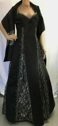 Women's Terani Couture Formal Black & Cream Beaded