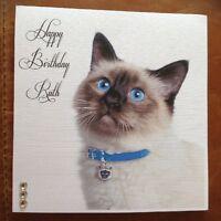 Handmade Personalised Kitten Cat Birthday Card