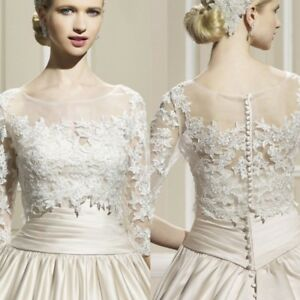 Vintage Lace Applique Bolero Wedding Dress Jacket 3 4 Long Sleeves