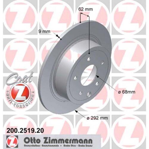 2 Zimmermann Bremsscheiben Nissan Juke Pulsar Qashqai 292mm voll hinten
