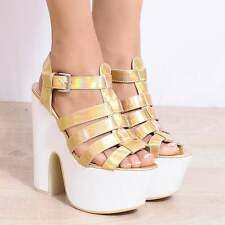 69ce182ec3e1 ANKLE CUFF PLATFORMS CHUNKY BLOCK HEEL WEDGES WEDGED HIGH HEELS SIZE 3 4 5  6 7