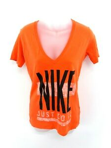 NIKE-Womens-T-Shirt-Top-M-Medium-Orange-Cotton-Slim-Fit